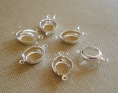 12x10mm Sterling Silver Plated 2 Ring/Loops Open Back Oval Connector Settings for Pointed Back or Flat Back Cabs or Jewels (6 pieces)