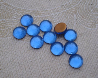 12 Vintage 7mm Small Sapphire/Cobalt Blue Gold Foiled Flat Back Round Glass Cabochons
