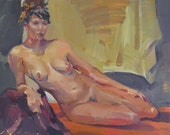 "Sale! Art painting nude woman figure ""Leaning on Her Elbow"" Original oil painting by Sarah Sedwick 11x14in"