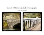 MOVING SALE Set of 2 Photographs, Multnomah Falls Print Set, Fine Art, Portland, Oregon, Bridge, Historic, TTV