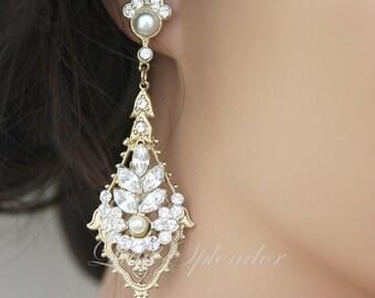 Gold Wedding Earrings Rhinestone Chandelier Earrings, Vintage Bridal Earrings, Swarovski Pearl and Crystals Wedding Jewelry URSULA Deluxe
