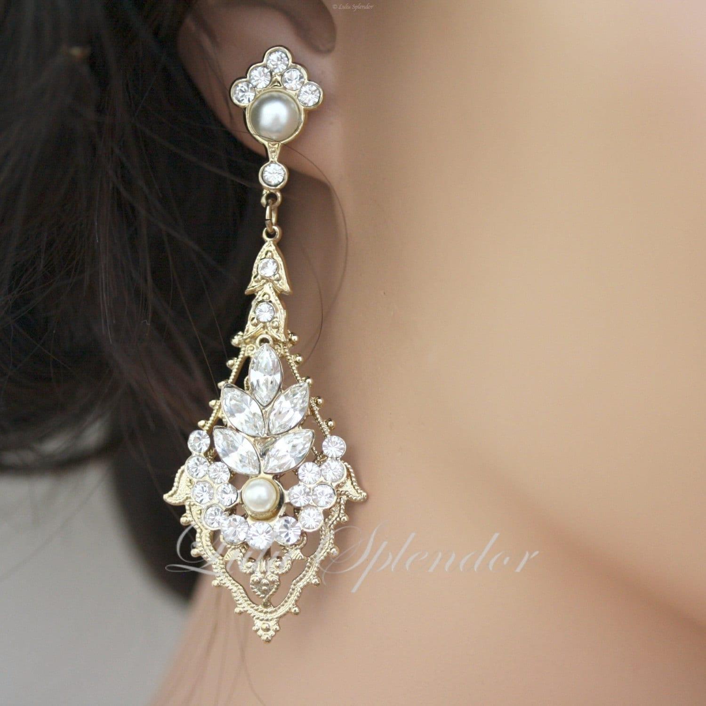 Art Deco Bridal Earring Gold Wedding Earrings Rhinestone