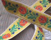 Czech Republic Woven Fabric Traditional Folkloric Trim Jacquard 3/4 Wide 2 Yards Yellow  CRT 004Y