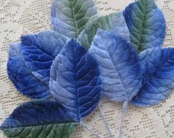 Vintage Millinery Leaves 1950s Japan Blue And Green Ombre Velvet Rose Leaves  VL 025BG