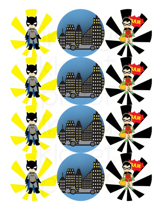 Printable Party Circles Batman Party Cupcake Toppers
