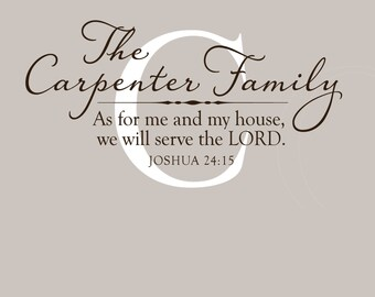 Family Name Wall Decal Wall Decor As for me and my house Christian vinyl wall decal scripture decal