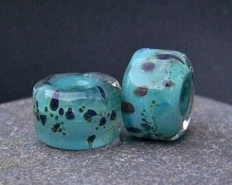 MruMru handmade lampwork beads, earring pair set. Boro ORGANIC rolos.  Sra