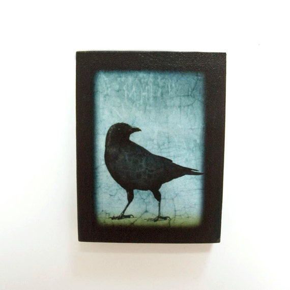 Standing Crow Looks Back on Small Magnetic Wooden Panel
