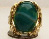 Handmade Solid 14kt Gold Wire Wrap Malachite Ring