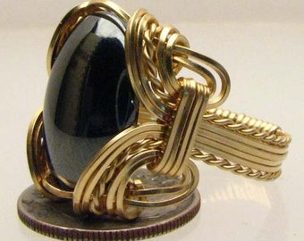 Handmade 14kt Gold Filled Wire Wrapped Hematite Gemstone Ring