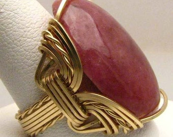 Handmade 14kt Gold Filled Wire Wrap Red Sodalite Ring
