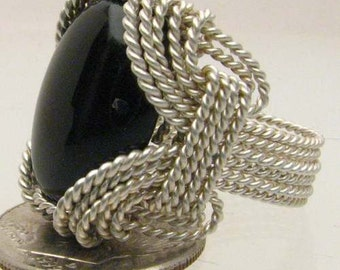 Handmade Sterling Silver Wire Wrap Black Onyx Ring