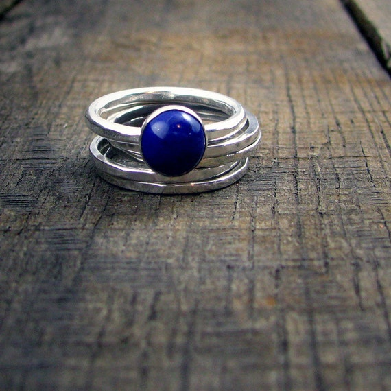 Sterling Stacking Rings - Set of 4 hammered and 1 wide hammered with round Blue Lapis - MADE TO ORDER