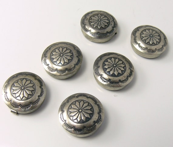 Vintage Sterling Silver Button Covers Southwestern Design