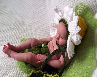 SET HAT bonnet infant  Diaper cover 3-9 Genuine original Baby boy girl DAISY  flower photography props made in Canada
