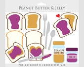 Peanut butter and jelly clipart - toast, peanut butter, jam, jelly, bread, clip art, jars, spoon, knife, for personal and commercial use