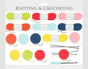Knitting clipart - crochet clip art, crocheting, knit, wool, knitting needles, crochet hook, yarn balls for personal and commercial use