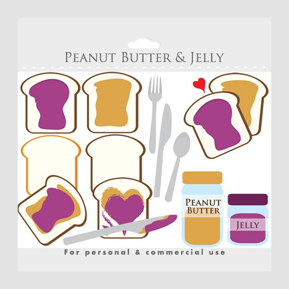 peanut butter and jelly clipart toast peanut butter jam rh etsy com peanut butter and jelly sandwich black and white clipart Peanut Butter and Jelly Sandwich