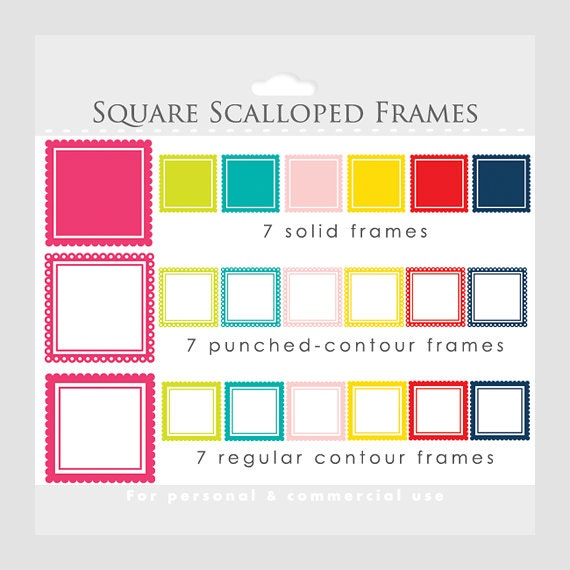 square scalloped frames clipart square frames for collages digital scrapbooking red pink