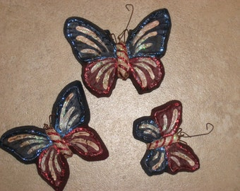 Paper mache set of 3 Patriotic Butterfly Ornamens
