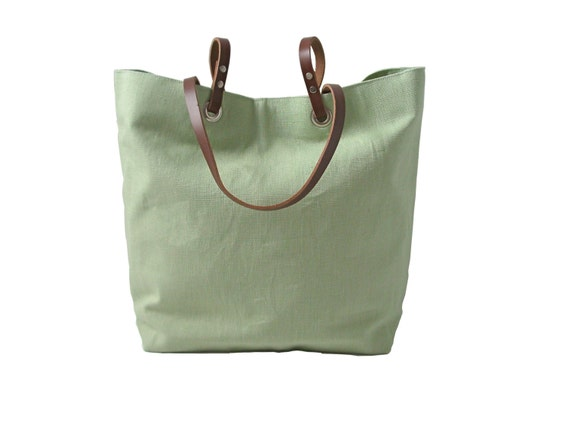 Pistachio Green Tote Bag, Spring Handbag,  Mint Green, Linen and Leather Handbag for Women