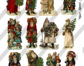 Digital Collage Sheet Victorian Santa Claus Images (Sheet no. O94) Instant Download