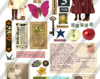 Digital Collage Sheet  Vintage Images  (Sheet no. O53) Ephemera-Instant Download