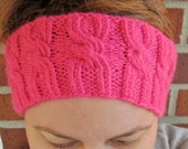 Pink Cabled Ear Warmer/ Headband