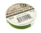 LIME GREEN Chinese Knotting Cord - 0.8mm Fine Cord - 49 Feet / 15 Meters - Nylon Cord for Knotting Braiding Macrame Kumihimo Supplies