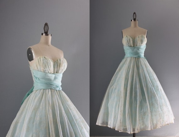 1950s Party Dress / Vintage 50s Ethereal Blue Prom Dress