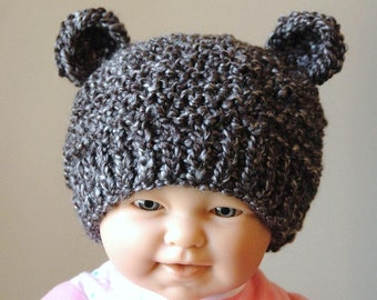 Newborn Baby Bear Hat, Knit Bear Hat, Baby Beanie, Newborn Photo Prop, Baby Boy Hat, Baby Girl Hat, Knitted Baby Hat, Charcoal Gray Bear Hat