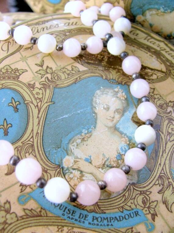 Vintage Rose Quartz Bead Necklace