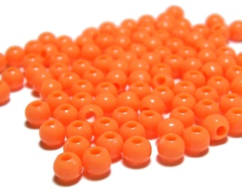 4mm Smooth Round Acrylic Beads in Tangerine 200 pcs