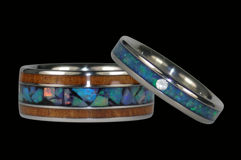 Rare Opal And Hawaiian Koa Ring Set