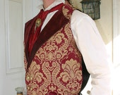 Burgundy and Gold Tapestry and Pleater Steampunk Victorian Double Breasted Lapeled Gentlemen's Vest