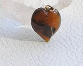 Amber Pendant, Heart Shape, Small, Delicate Looking, Child, Teen, Goddess, Charm, Vintage Villa, Browns, Love, Valentine's Day, Strength