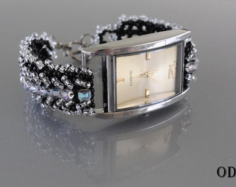 Black and Silver Watchband.  BEADING TUTORIAL