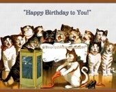 Group of Cats Singing Happy Birthday Refrigerator Magnet - free US shipping