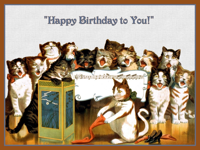 Статусы контакт, день рождения открытка котики поют с днем рождения
