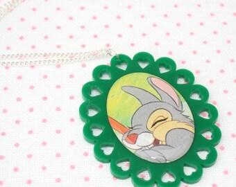 SALE Rabbit Necklace, Bambi Illustration Necklace OOAK, Woodland, Animal Necklace