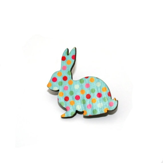 Rabbit Brooch, Easter Bunny, Polka Dot Illustration, Wood Jewelry, Animal Brooch, Woodland