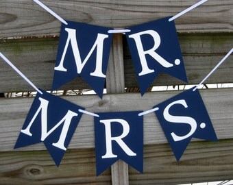 Mr and Mrs Banner Set in Navy - Wedding Photo Prop and Chair Signs