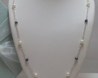 Genuine Purple Sapphire and Seed Pearl Necklace