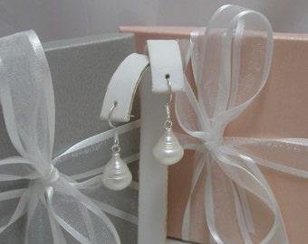 Large Genuine Freshwater Large Swirl Teardrop pearls and sterling silver dangle earrings