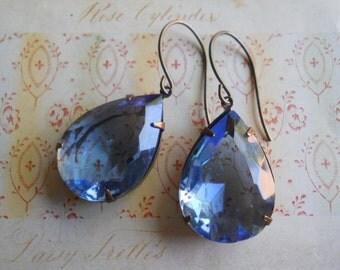 Stunning Light Sapphire Pear Glass Jewel Drop Earrings Vintage Beveled Glass in Brass Settings Large Dangle Earrings