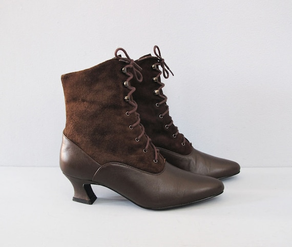 vintage brown leather two tone lace up granny boots 6