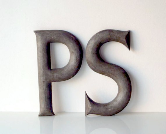 Vintage large wood sign letters p s home decor wall by for Large wooden letter p