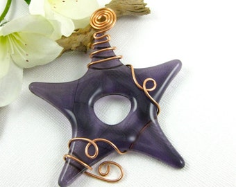 Purple Glass Star Suncatcher wrapped with copper wire Fused Glass Star