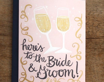 Bride and Groom Illustrated Card