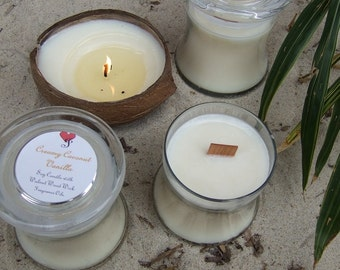 CREAMY COCONUT VANILLA -- Soy Candle English Walnut Wick